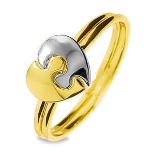 Image of 2 Tone Gold Ring - Puzzle Heart (45113)