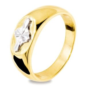 Image of 2 Tone White and Yellow Gold Ring Band - Men's Star (45230)