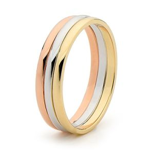 Image of 3 Tone Gold Ring - Wedding Bands (45465YWR)