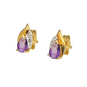 Image of Amethyst and Diamond Gold Earrings - Leaf (51309/AM)