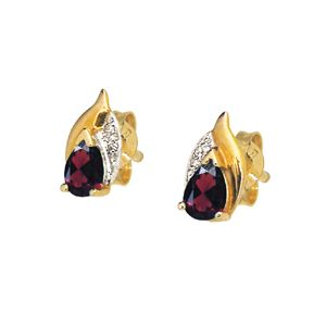 Image of Garnet and Diamond Gold Earrings - Pear (51309/GT)