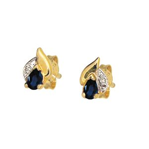 Image of Sapphire and Diamond Gold Earrings - Pear cut (51373/S)