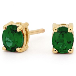 Image of Emerald Gold Earrings - Oval 5x4mm (51415/G)