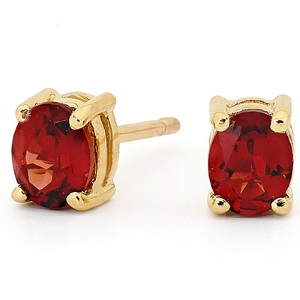 Garnet Gold Earrings - Oval 5x4mm
