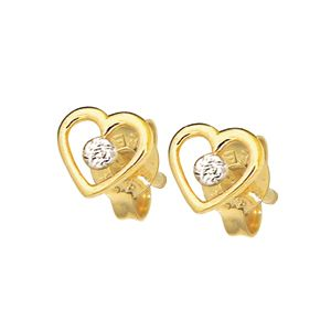 Image of Diamond Gold Earrings - Heart Solitaire (52592)
