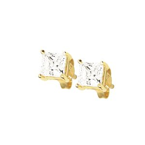 Image of Cubic Zirconia CZ Gold Earrings - Square 5mm (53237/CZ)