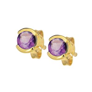 Image of Amethyst Gold Earrings - Bezel Setting (53473/AM)