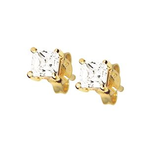 Image of Cubic Zirconia CZ Gold Earrings - Square 4mm (53476/CZ)