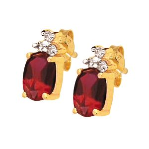 Image of Ruby and Diamond Gold Earrings - Oval (53725/CR)