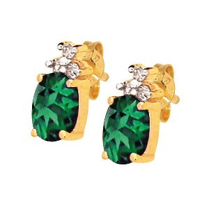 Image of Emerald and Diamond Gold Earrings - Oval (53725/G)