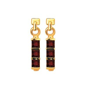 Garnet Gold Earrings - Three Stone