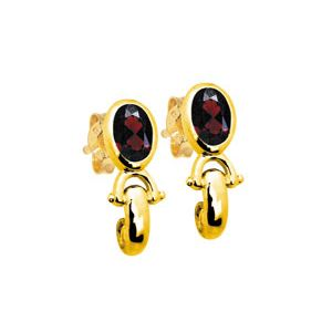 Image of Garnet Gold Earrings - Bezel (53802/GT)