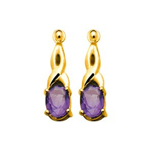 Image of Amethyst Gold Earrings - Twist (53810/AM)