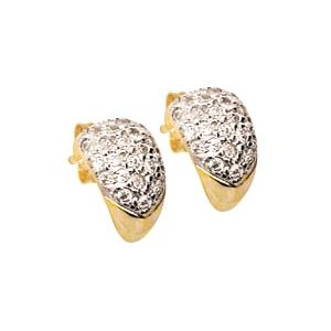 Cubic Zirconia CZ Gold Earrings - Pave Huggie