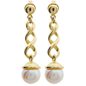 Pearl Gold Earrings - Twist