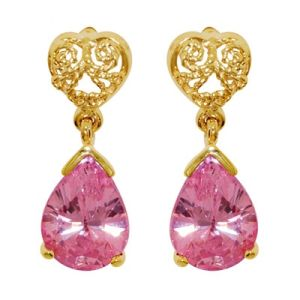 Image of Pink Cubic Zirconia CZ Gold Earrings - Filigree Drops (54415/CZP)