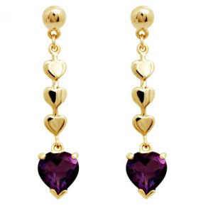 Image of Amethyst Gold Earrings - Heart (54575/AM)