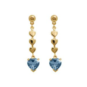 Image of Blue Topaz Gold Earrings - Drop Heart Studs (54575/BT)