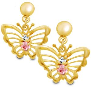 Multicolour Aquamarine and Pink Cubic Zirconia CZ Gold Earrings - Butterfly