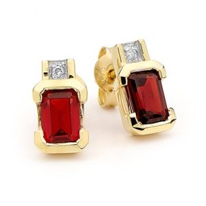 Image of Ruby and Diamond Gold Earrings - Half Bezel (54660/CR)