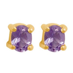 Image of Amethyst Gold Earrings - Oval 4x3mm (54663/AM)