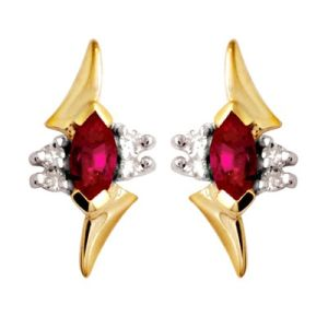 Image of Ruby and Diamond Gold Earrings - Marquise (54720/CR)