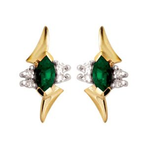 Image of Emerald and Diamond Gold Earrings (54720/G)