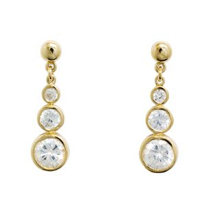Image of Cubic Zirconia CZ Gold Earrings - Trilogy (54977/CZ)