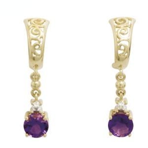 Amethyst and Diamond Gold Earrings - Filigree