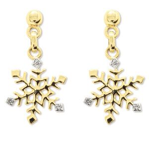 Image of Diamond Gold Earrings - Snowflake (55208)