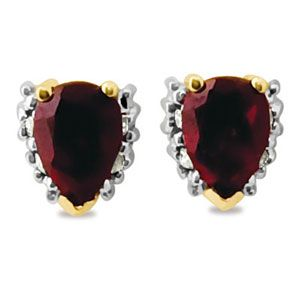 Image of Ruby and Diamond Gold Earrings - Pear Cluster (55258/CR)