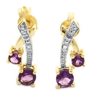 Image of Amethyst and Diamond Gold Earrings - Cherries (55260/AM)