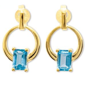 Image of Blue Topaz Gold Earrings - Circle (55262/BT)