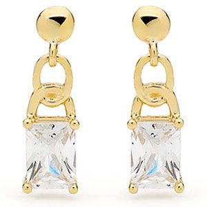 Image of Cubic Zirconia CZ Gold Earrings - Chain (55340/CZ)