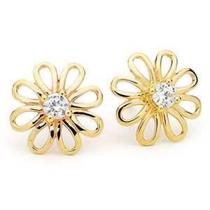 Image of Cubic Zirconia CZ Gold Earrings - Flower (55345/CZ)