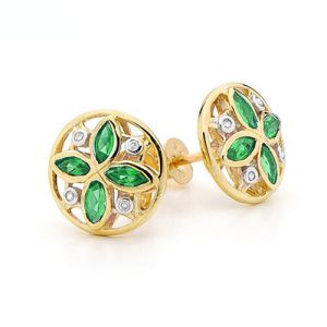 Image of Emerald and Diamond Gold Earrings - Art Deco Circle (55380/G)