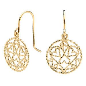 Image of Gold Earrings - Filigree Circle of Life Hearts (55386)