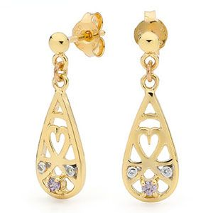 Image of Amethyst and Diamond Gold Earrings - Heart Drop (55429/AM)