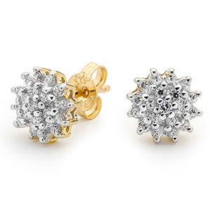 Image of Cubic Zirconia CZ Gold Earrings - Cluster Ball (55433/CZ)