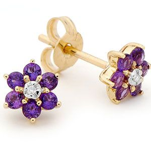 Image of Amethyst and Diamond Gold Earrings - Flower Daisy (55451/AM)