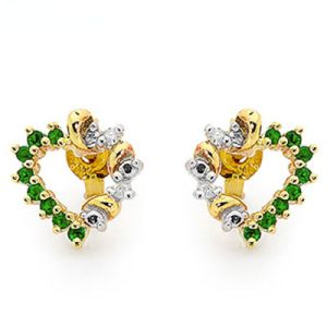 Image of Emerald and Diamond Gold Earrings - Heart Swirl (55475/G)
