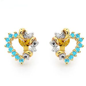 Image of Blue Spinel and Diamond Gold Earrings - Heart (55475/SPAQ)