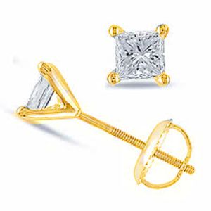 Image of Diamond Gold Earrings .07ct Square Stud (55504/B07)