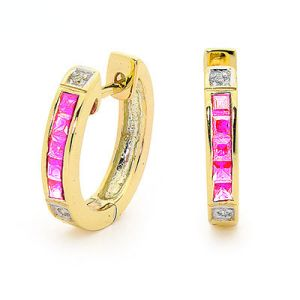 Pink Sapphire and Diamond Gold Earrings - Huggie