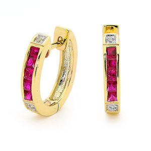 Ruby and Diamond Gold Earrings - Huggie