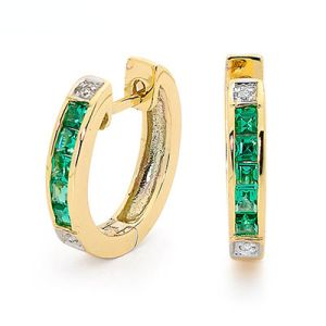 Image of Emerald and Diamond Gold Earrings - Huggie (55508/G)
