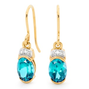 Image of Blue Topaz and Diamond Gold Earrings (55589/BT)