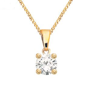 Image of Diamond Gold Pendant .20ct Solitaire (60985/A20)