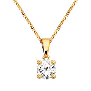 Image of Diamond Gold Pendant .25ct Solitaire (60985/A25)
