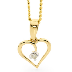 Image of Diamond Gold Pendant - Heart Love (61482)